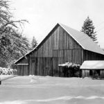 Worthington Park Barn in the snow, in vintage picture