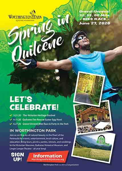 Worthington Park ad for Spring events, including The Victorian Heritage Festival, the Quilcene Fire Rescue Easter Egg Hunt, and Gravel Unravel Bike Race & Party in the Park.
