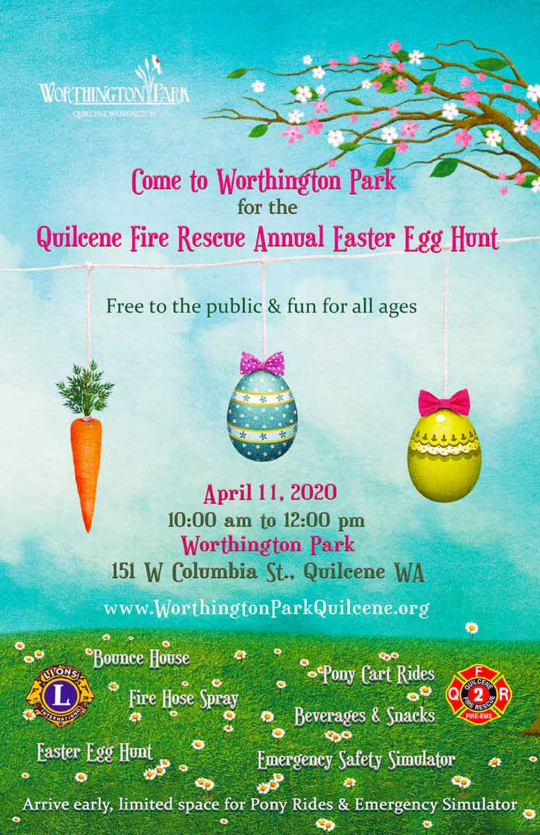 2020 Quilcene Fire Rescue Easter Egg Hunt Poster, with event details.